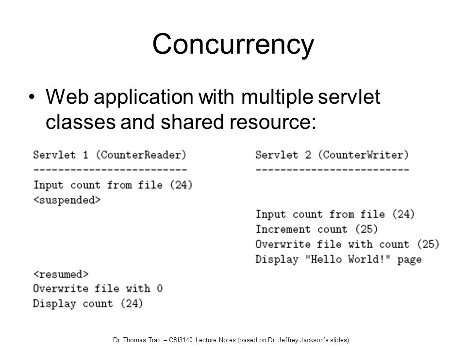 Concurrency Web application with multiple servlet classes and shared resource:
