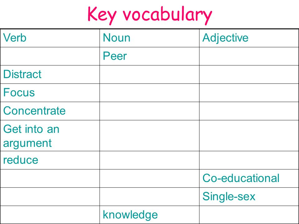 Key vocabulary Verb Noun Adjective Peer Distract Focus Concentrate