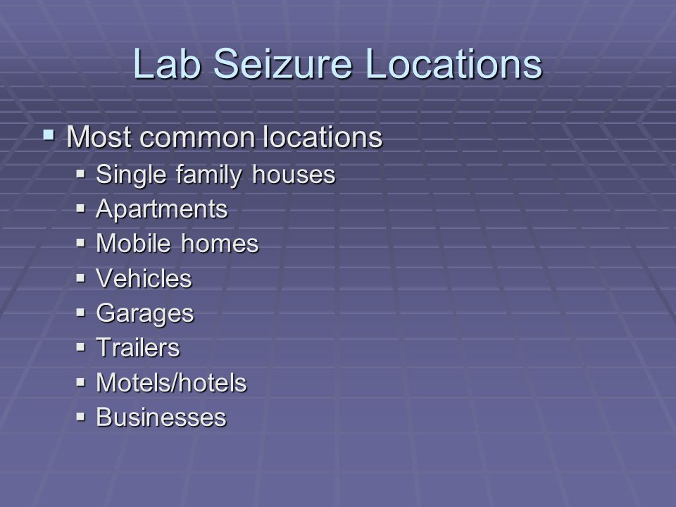 Lab Seizure Locations Most common locations Single family houses