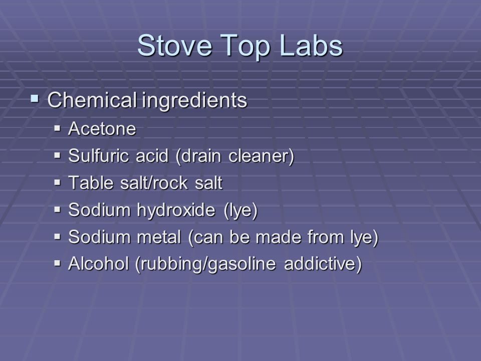 Stove Top Labs Chemical ingredients Acetone