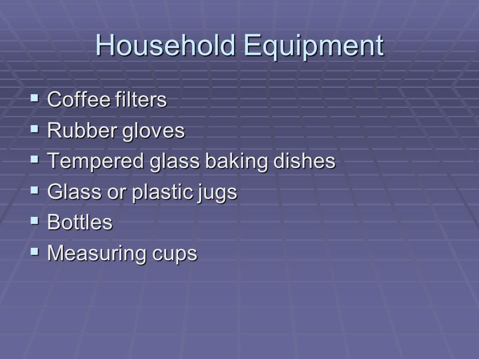 Household Equipment Coffee filters Rubber gloves