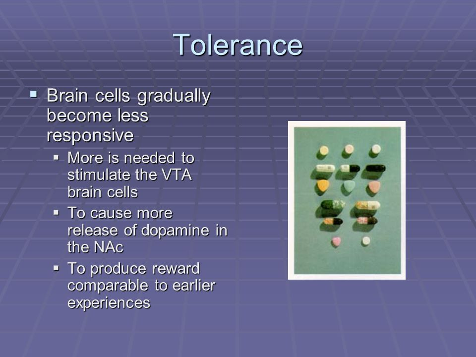 Tolerance Brain cells gradually become less responsive