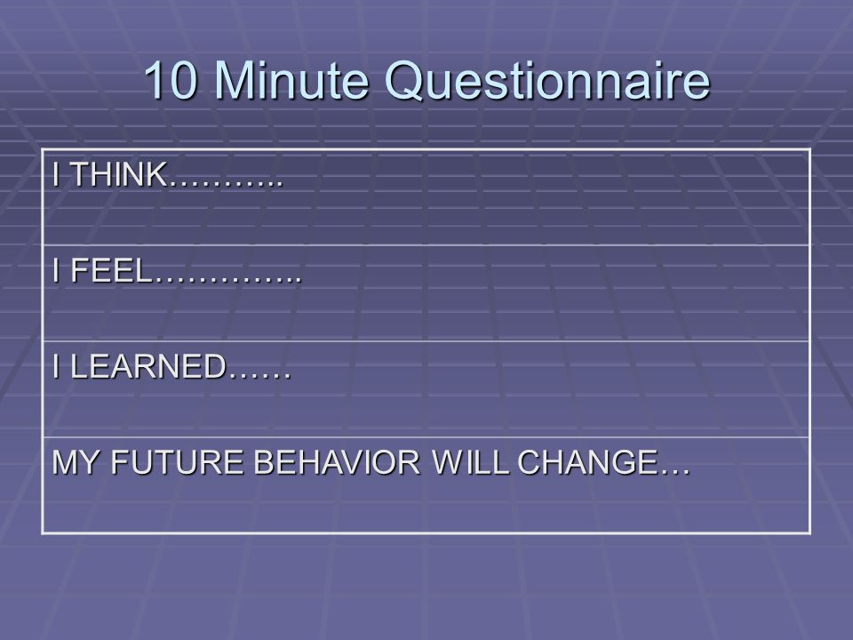 10 Minute Questionnaire I THINK……….. I FEEL………….. I LEARNED……