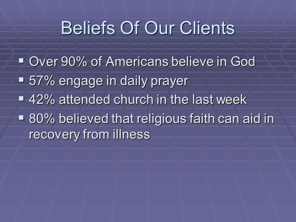 Beliefs Of Our Clients Over 90% of Americans believe in God