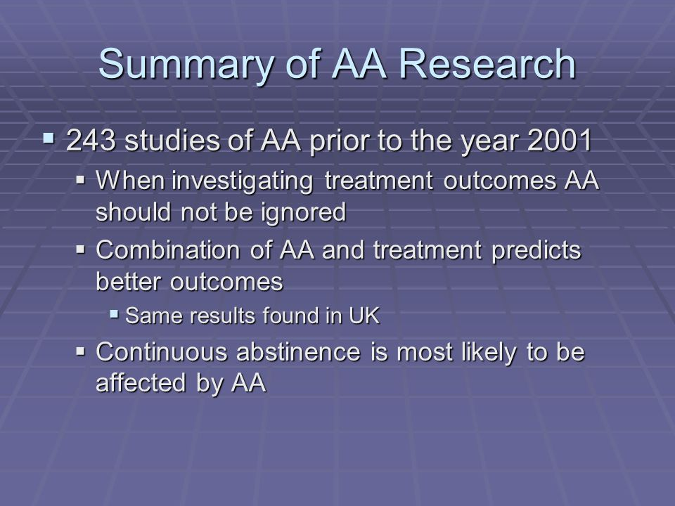 Summary of AA Research 243 studies of AA prior to the year 2001