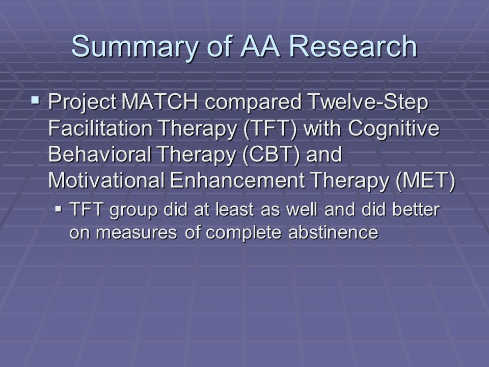 Summary of AA Research