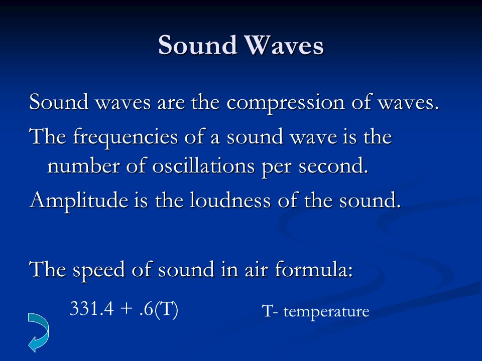 Sound Waves Sound waves are the compression of waves.