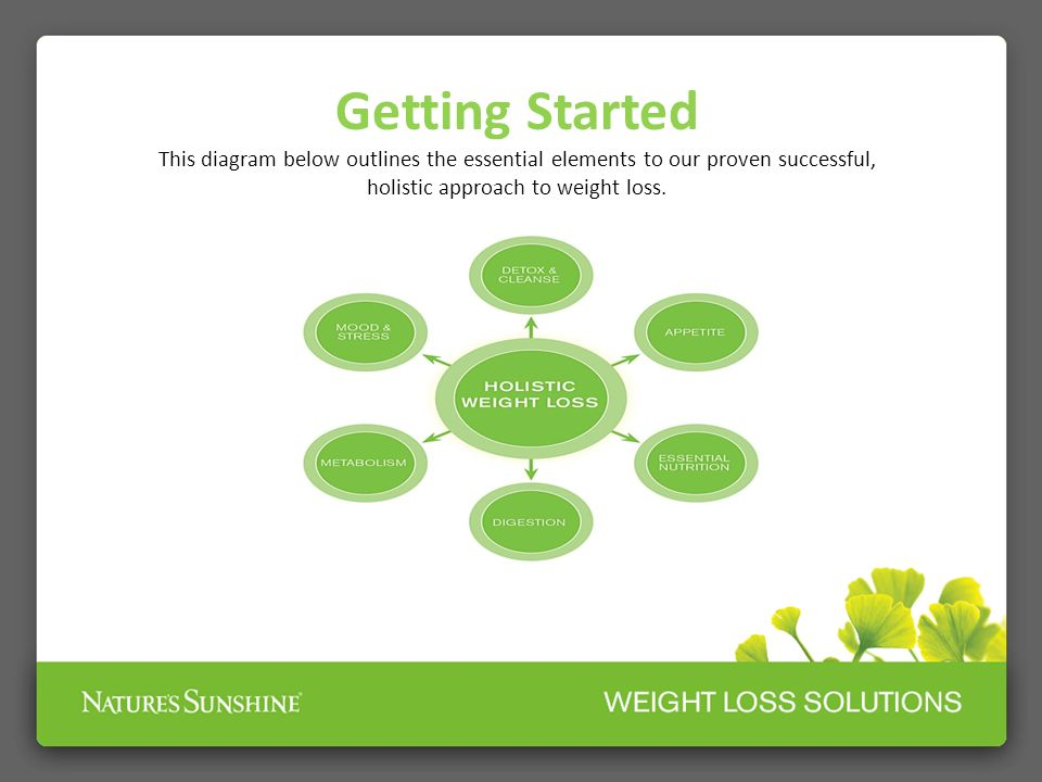 Getting Started This diagram below outlines the essential elements to our proven successful, holistic approach to weight loss.