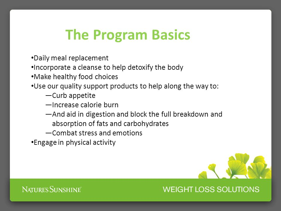 The Program Basics Daily meal replacement