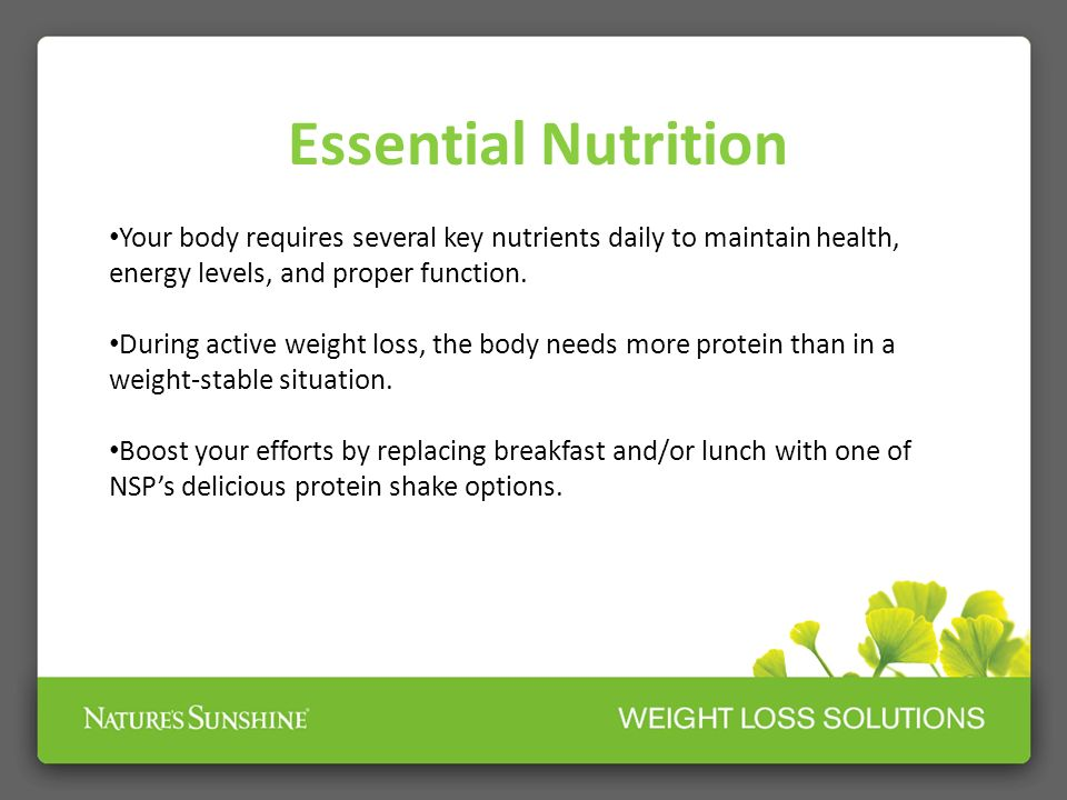 Essential Nutrition Your body requires several key nutrients daily to maintain health, energy levels, and proper function.