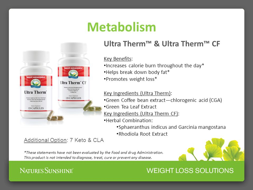 Metabolism Ultra Therm™ & Ultra Therm™ CF Key Benefits: