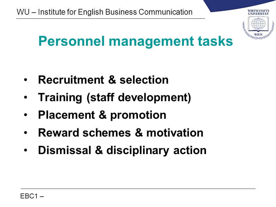 Personnel management tasks