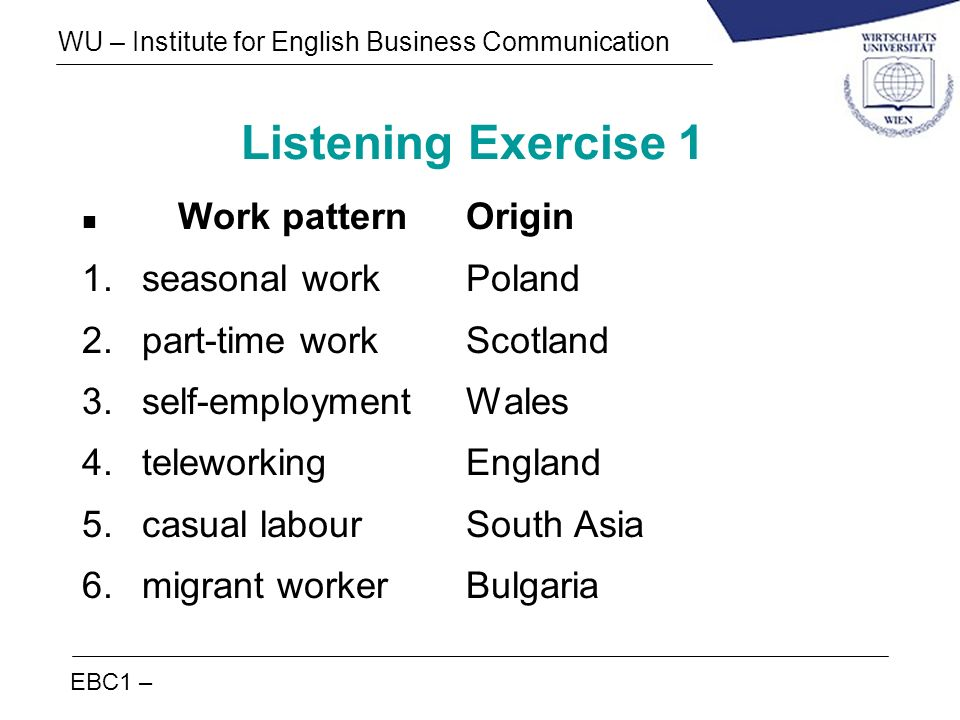 Listening Exercise 1 Work pattern Origin seasonal work Poland