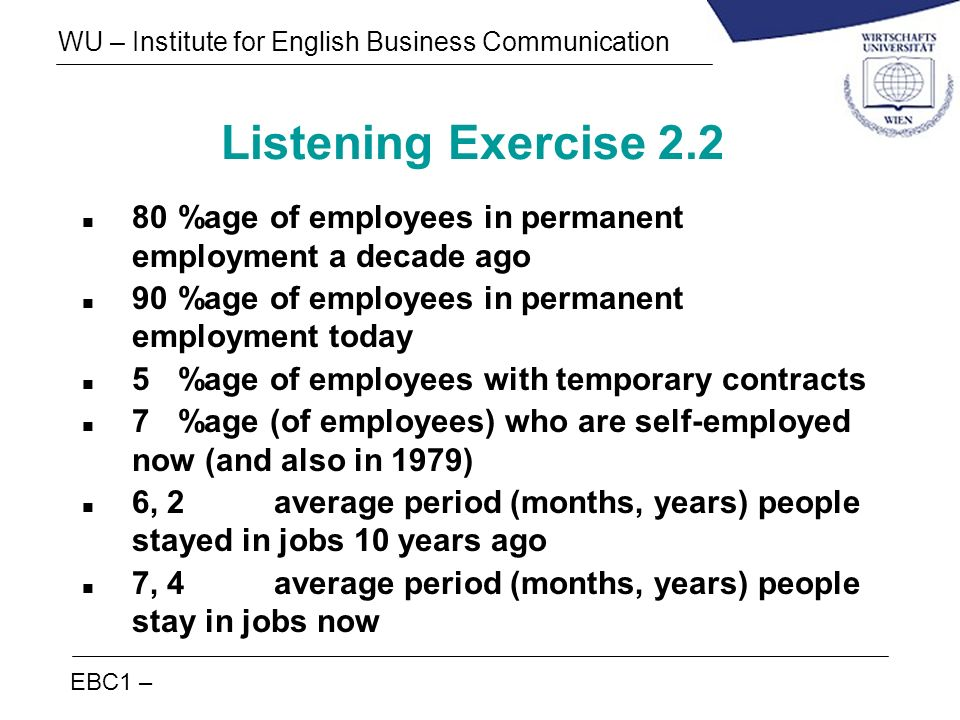 Listening Exercise 2.2 80 %age of employees in permanent employment a decade ago. 90 %age of employees in permanent employment today.