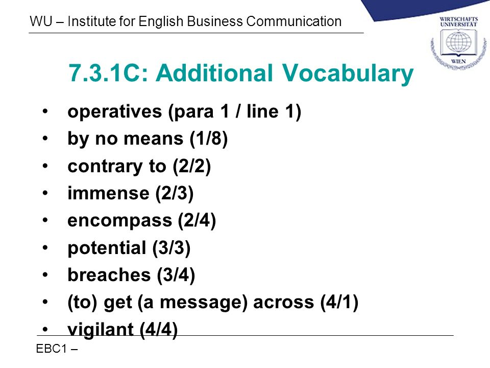 7.3.1C: Additional Vocabulary