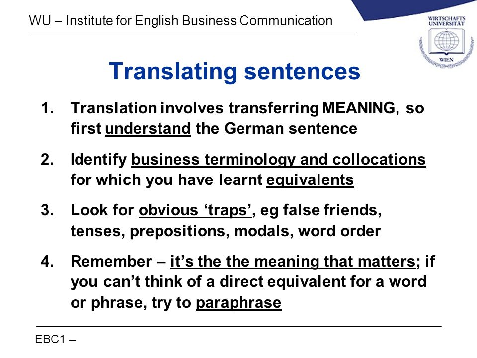 Translating sentences