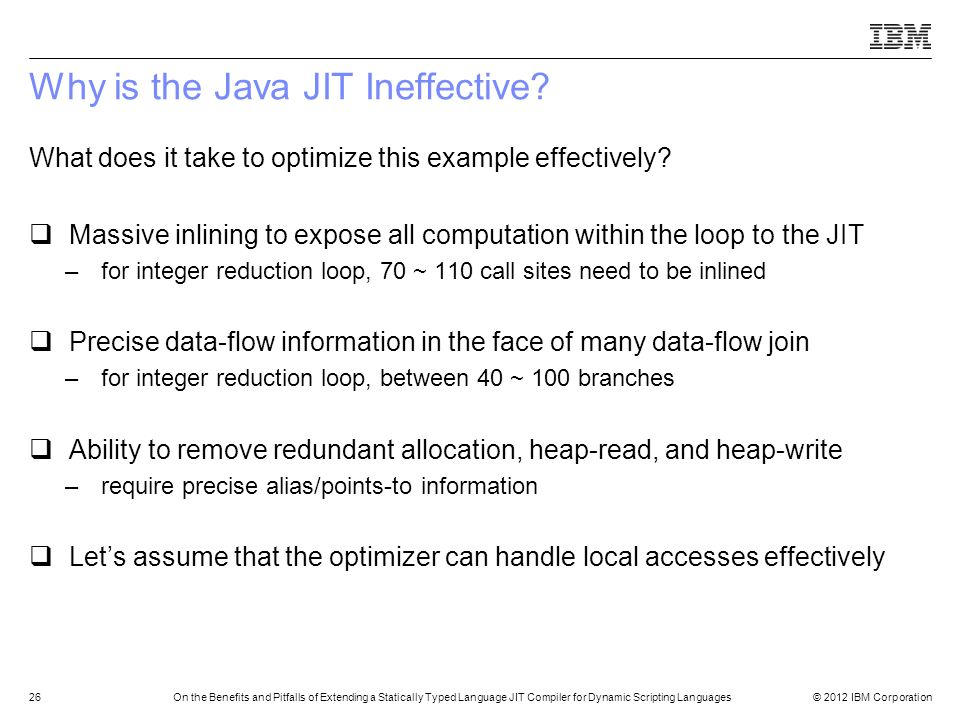 Why is the Java JIT Ineffective