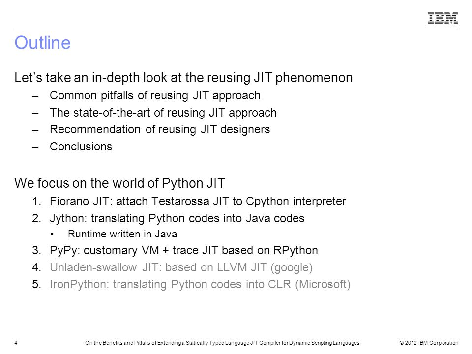 Outline Let's take an in-depth look at the reusing JIT phenomenon