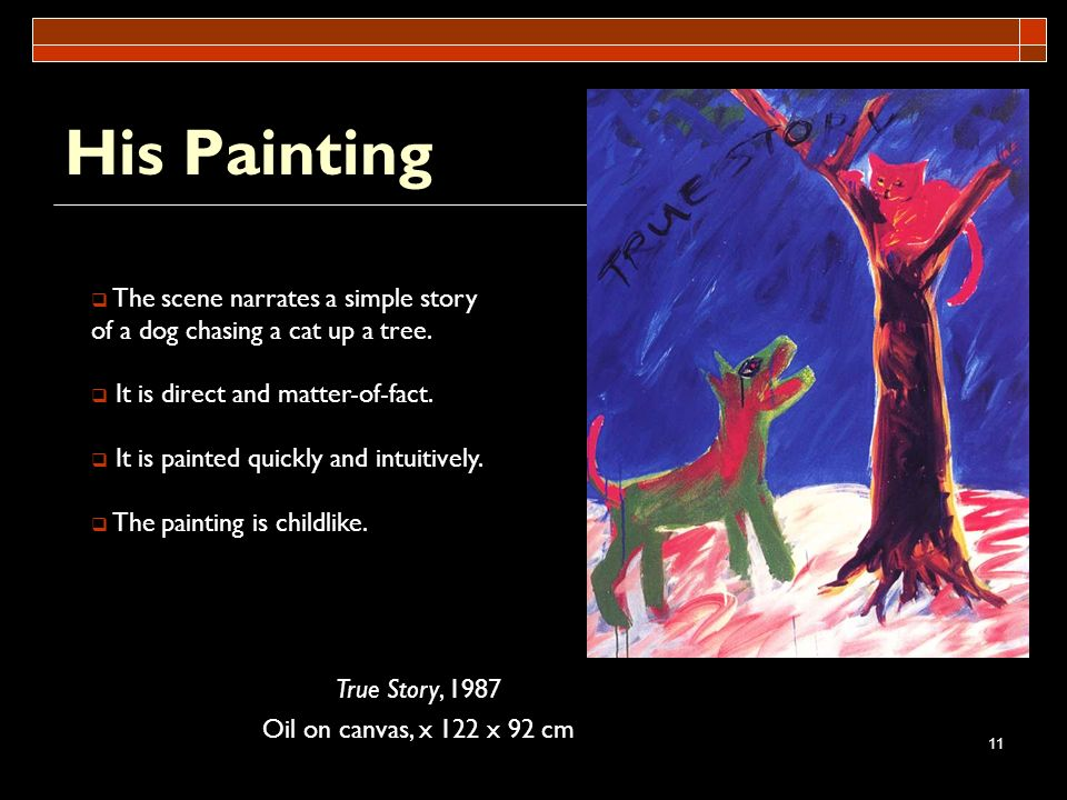 His Painting The scene narrates a simple story