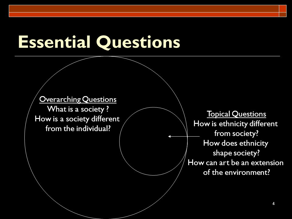 Essential Questions Overarching Questions What is a society