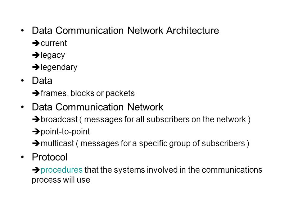 Data Communication Network Architecture