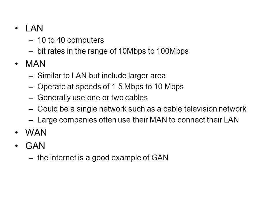 LAN MAN WAN GAN 10 to 40 computers