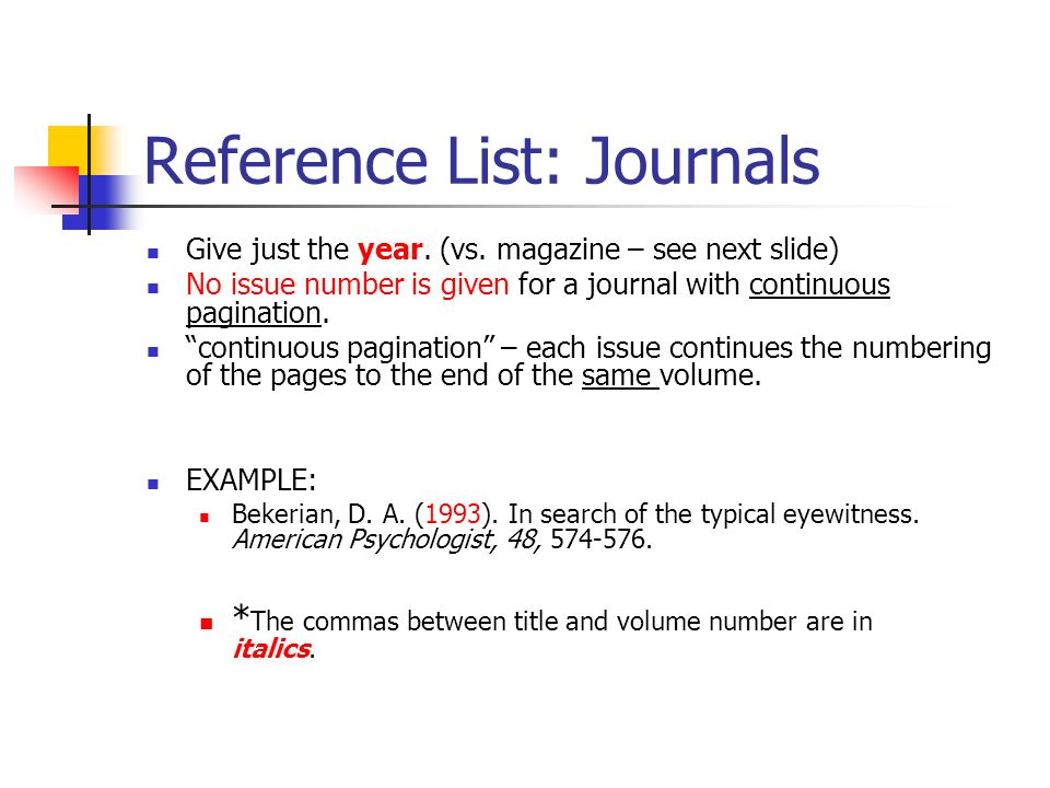 Reference List: Journals