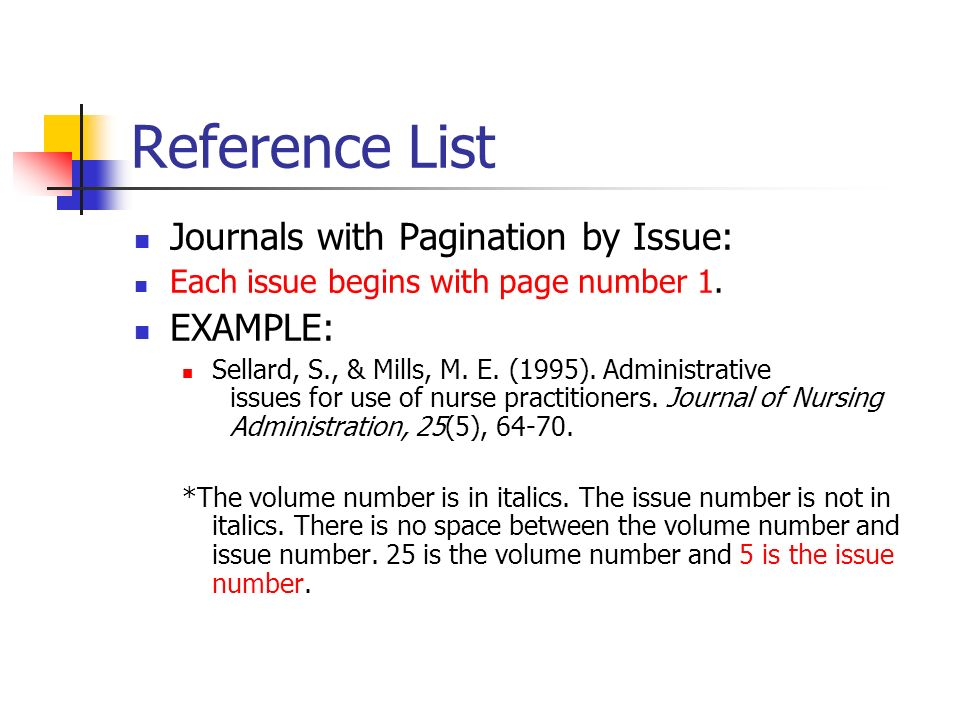 Reference List Journals with Pagination by Issue: EXAMPLE: