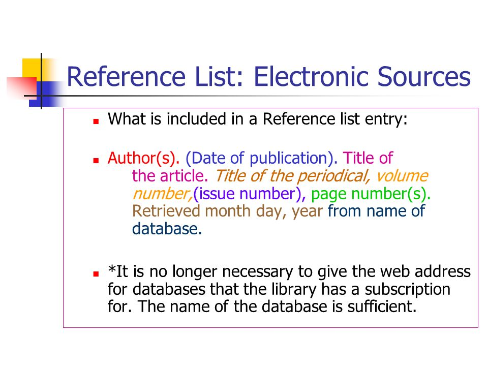 Reference List: Electronic Sources