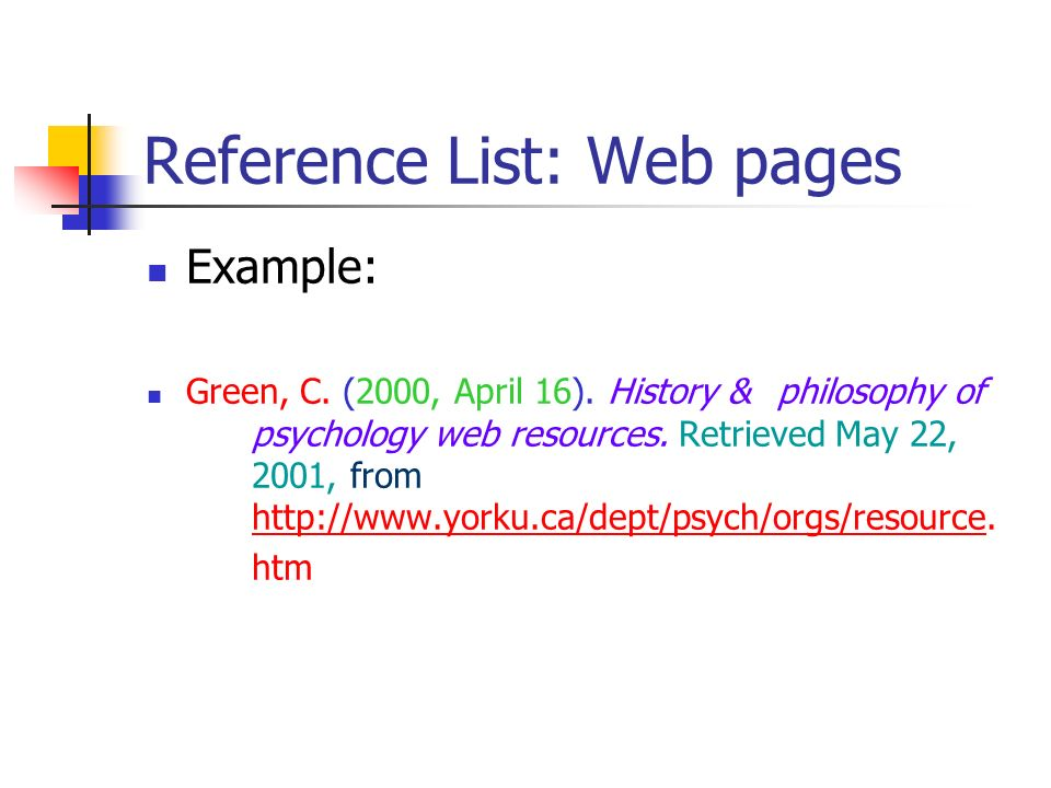 Reference List: Web pages