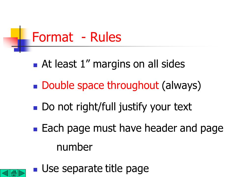 Format - Rules At least 1 margins on all sides