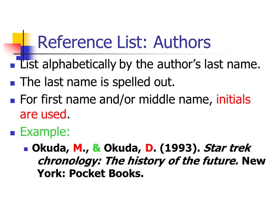 Reference List: Authors