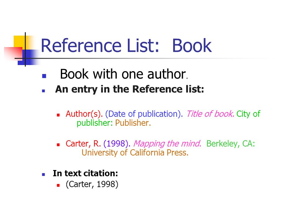 Reference List: Book Book with one author.