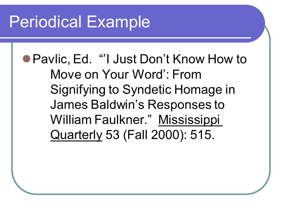 Periodical Example