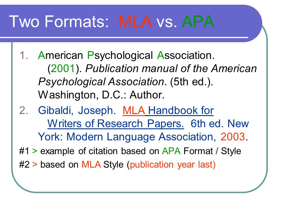 Two Formats: MLA vs. APA