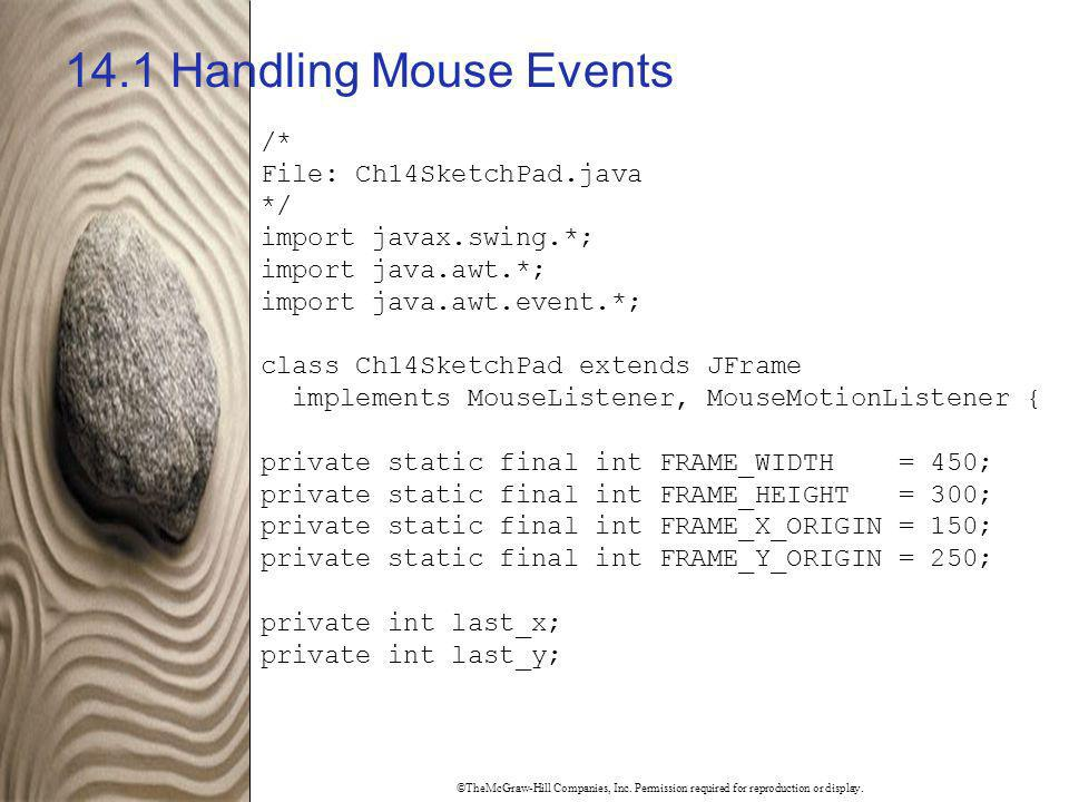 14.1 Handling Mouse Events /* File: Ch14SketchPad.java */
