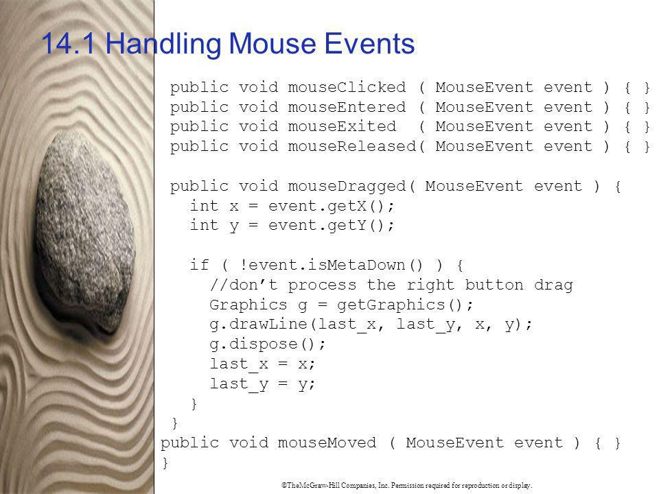 14.1 Handling Mouse Events public void mouseClicked ( MouseEvent event ) { } public void mouseEntered ( MouseEvent event ) { }