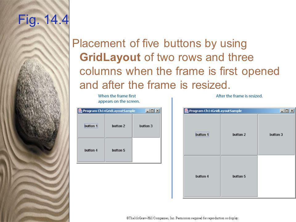 Fig. 14.4 Placement of five buttons by using GridLayout of two rows and three columns when the frame is first opened and after the frame is resized.