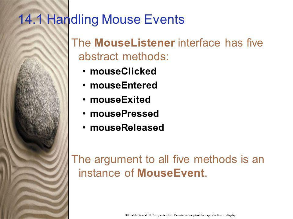 14.1 Handling Mouse Events The MouseListener interface has five abstract methods: mouseClicked. mouseEntered.