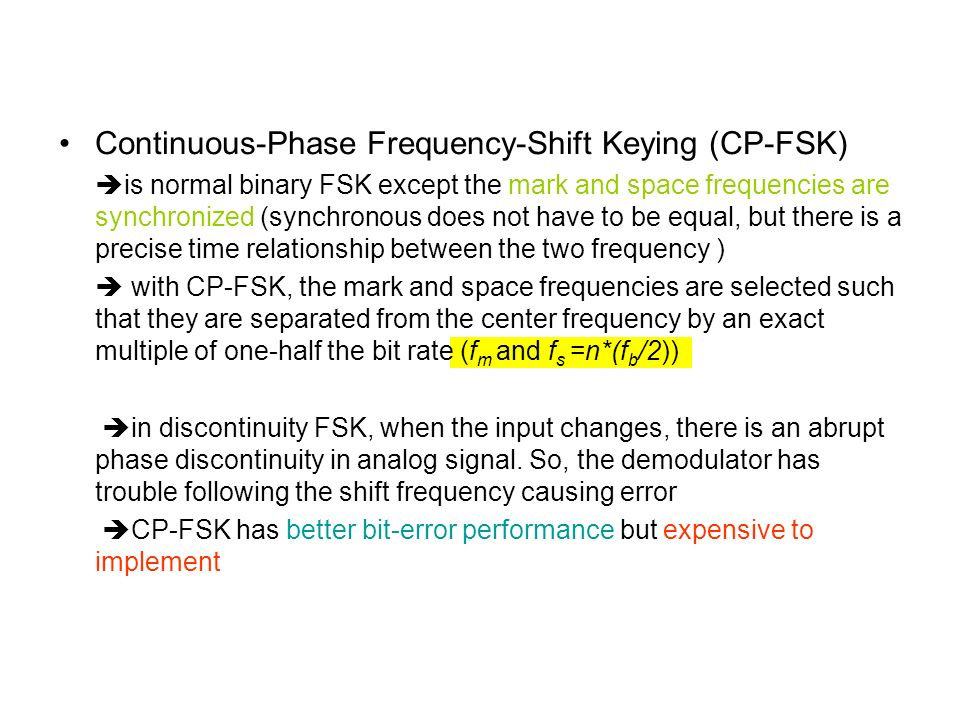Continuous-Phase Frequency-Shift Keying (CP-FSK)