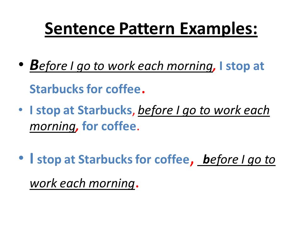 Sentence Pattern Examples: