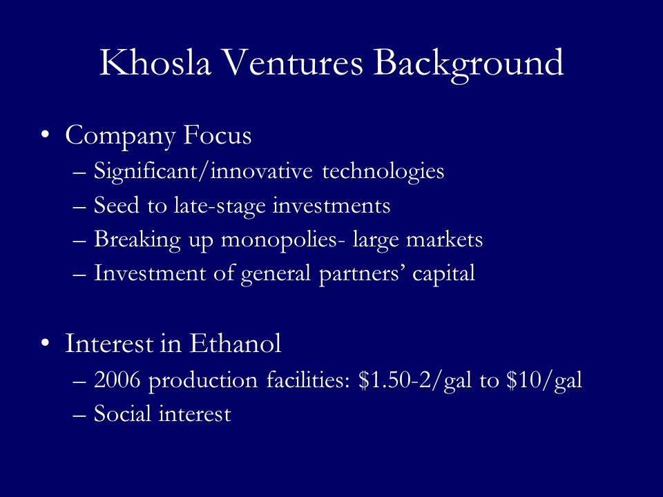 Khosla Ventures Background