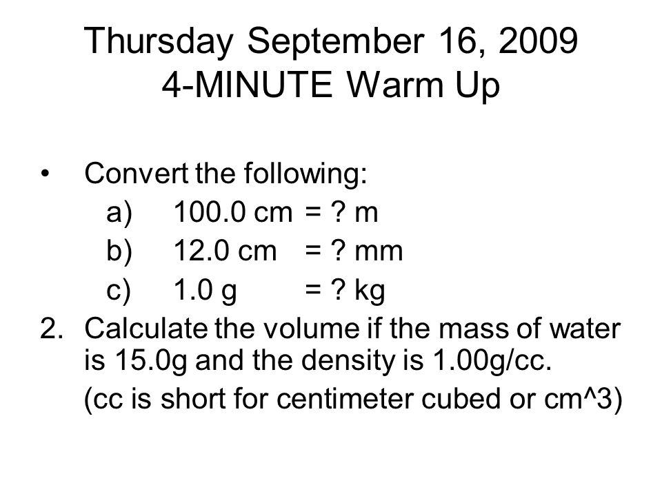 Thursday September 16, MINUTE Warm Up