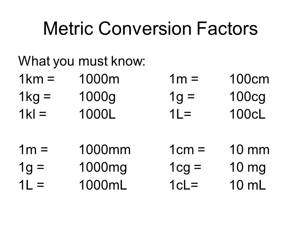 Metric Conversion Factors