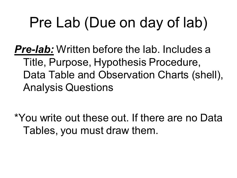 Pre Lab (Due on day of lab)