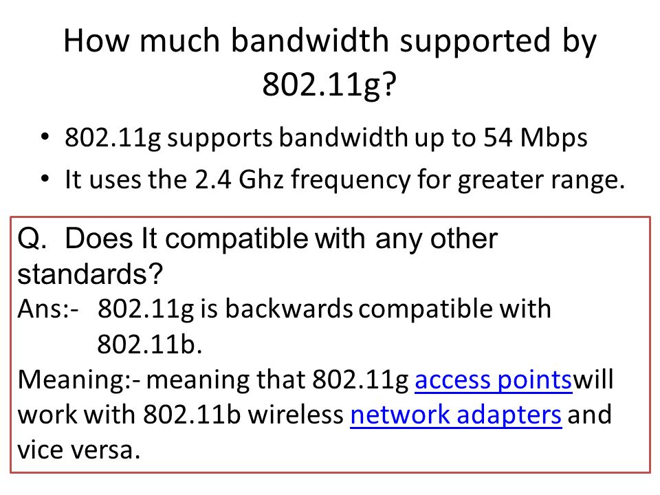 How much bandwidth supported by 802.11g