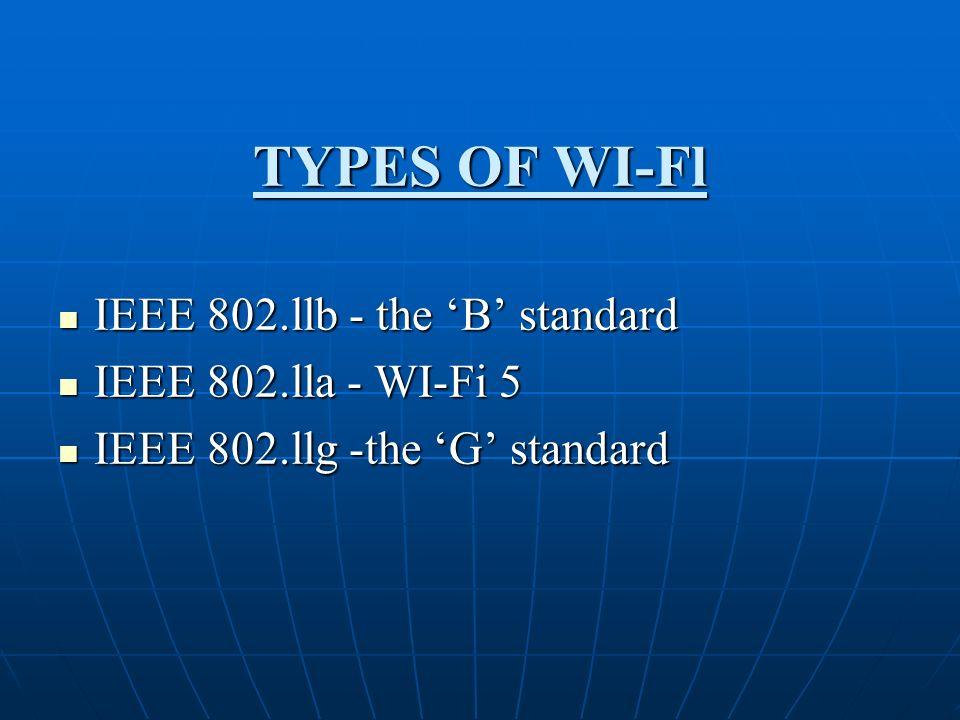 TYPES OF WI-Fl IEEE 802.llb - the 'B' standard IEEE 802.lla - WI-Fi 5