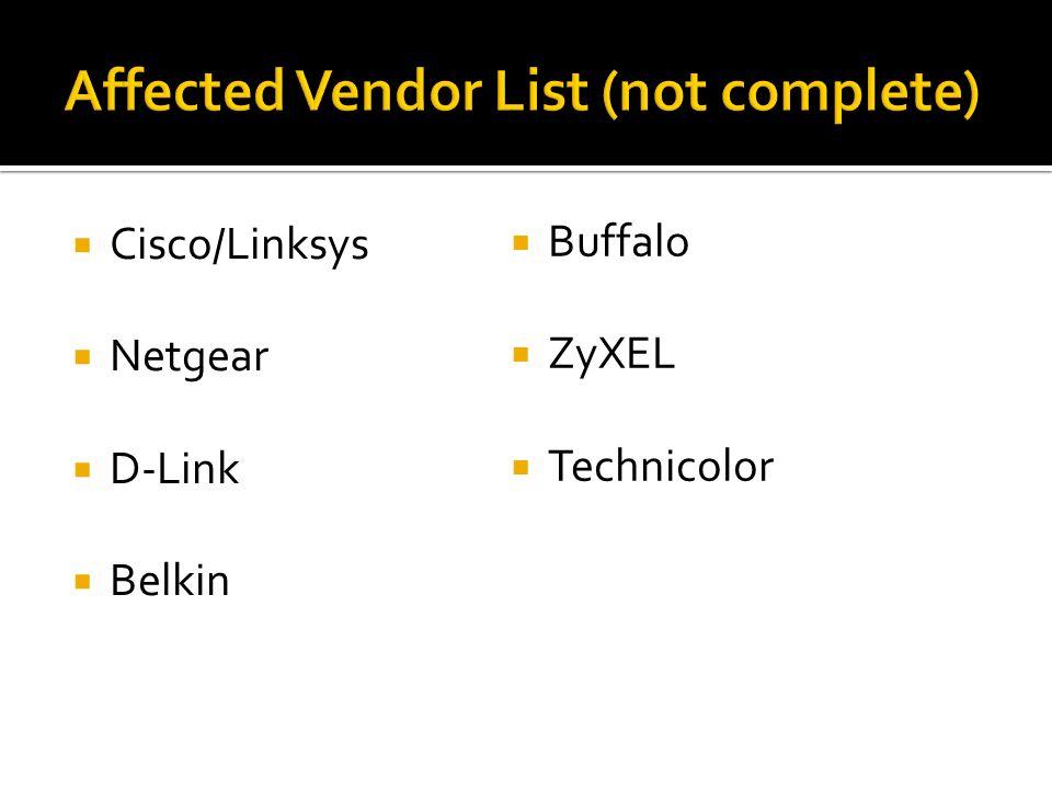 Affected Vendor List (not complete)