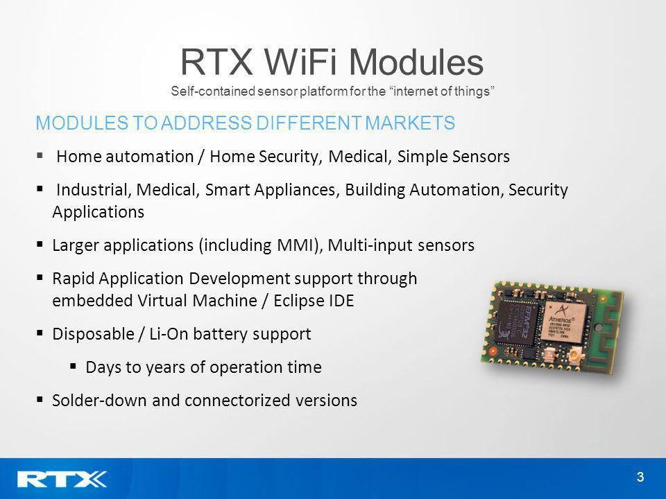 RTX WiFi Modules Self-contained sensor platform for the internet of things