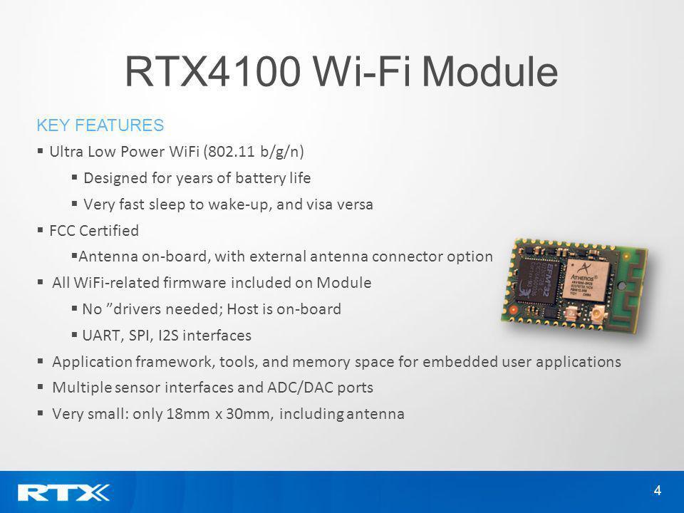 RTX4100 Wi-Fi Module Key features Ultra Low Power WiFi (802.11 b/g/n)